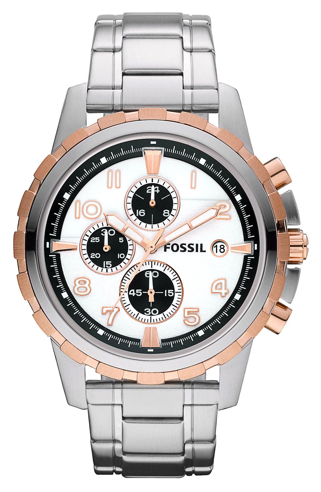 Alternate Image 1 Selected - Fossil Notched Bezel Chronograph Bracelet Watch, 45mm