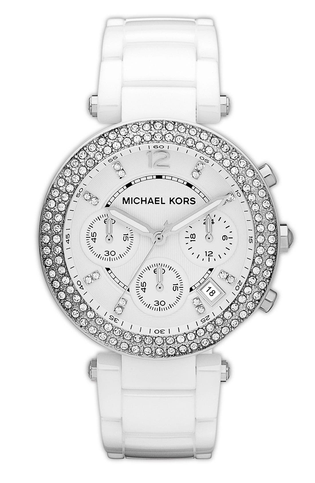 Main Image - Michael Kors 'Parker' Chronograph Ceramic Bracelet Watch, 39mm