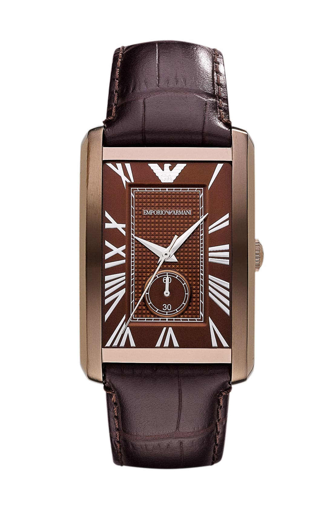 Alternate Image 1 Selected - Emporio Armani 'Classic - Large' Rectangular Dial Watch