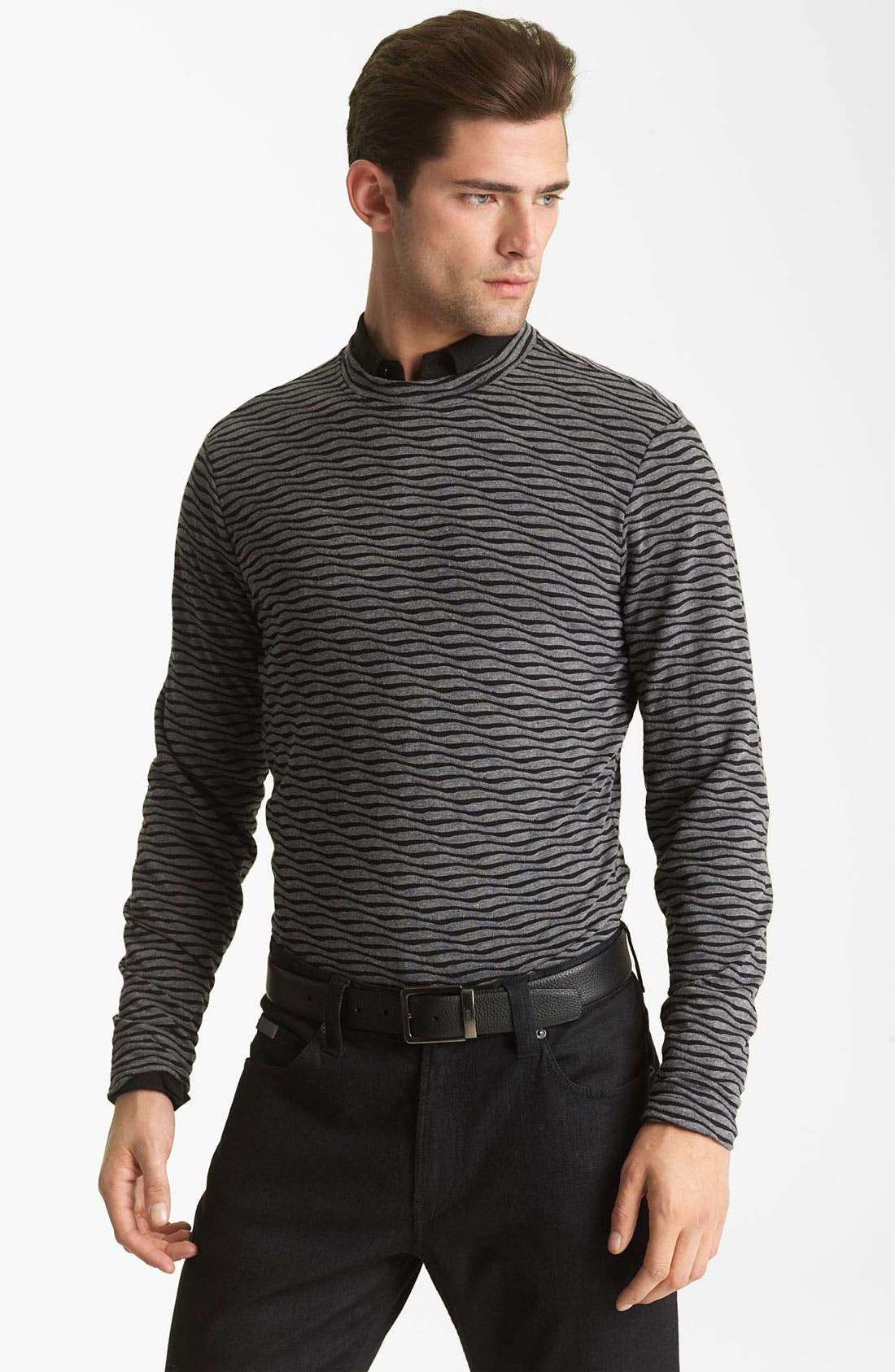 Alternate Image 1 Selected - Armani Collezioni Stripe Crewneck Pullover