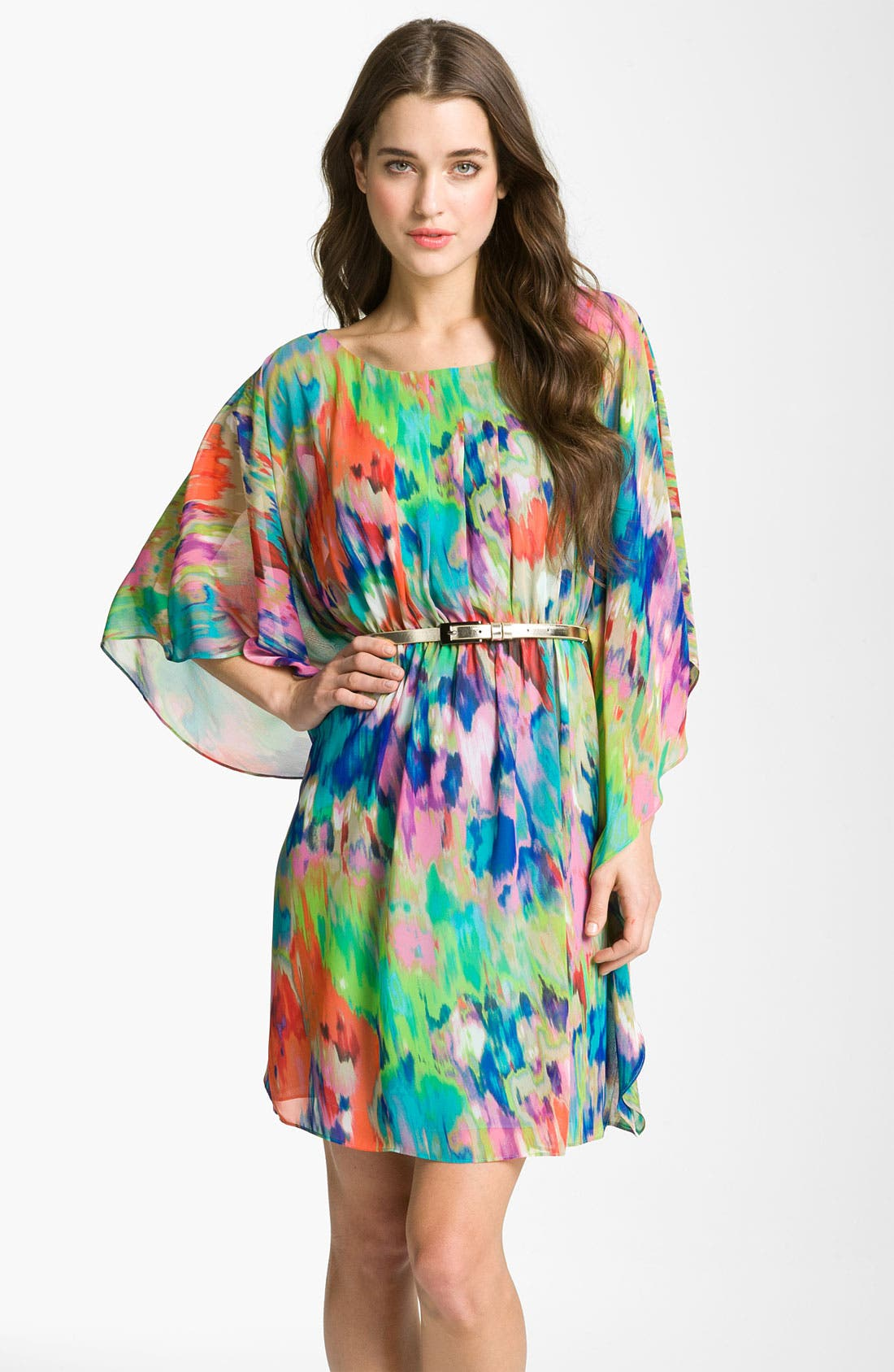 Alternate Image 1 Selected - Eliza J Print Batwing Sleeve Chiffon Dress