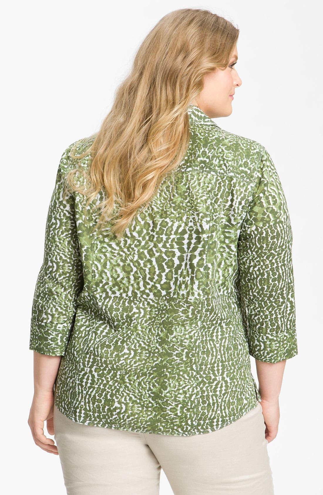 Alternate Image 2  - Foxcroft Leopard Print Shaped Shirt (Plus)