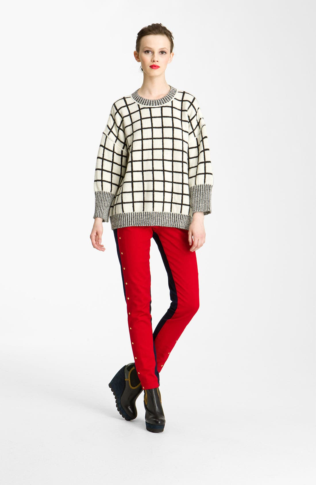 Alternate Image 1 Selected - KENZO Windowpane Pullover Sweater