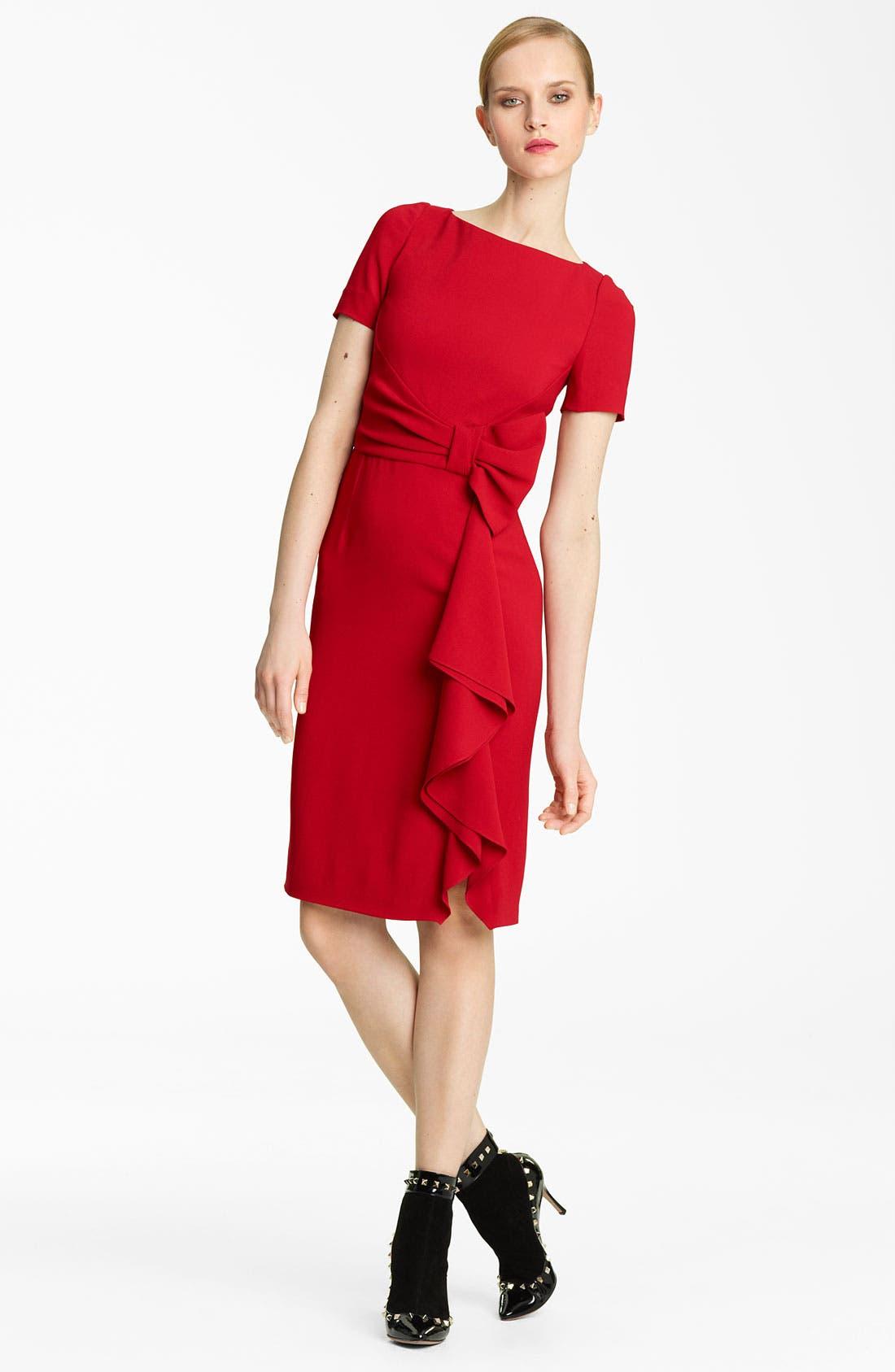 Alternate Image 1 Selected - Valentino Side Drape Stretch Cady Dress