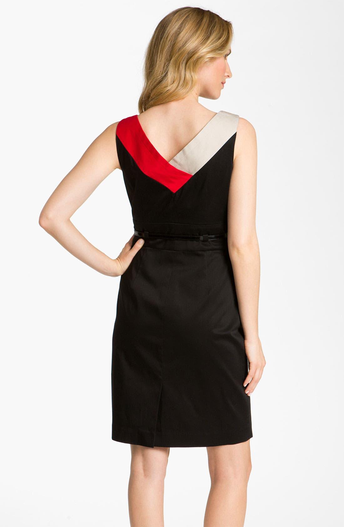 Alternate Image 2  - Tahari by Arthur S. Levine Belted Colorblock Cotton Dress