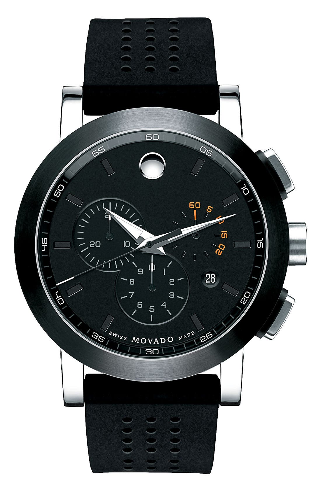 Movado 'Museum' Chronograph Rubber Strap Watch, 44mm