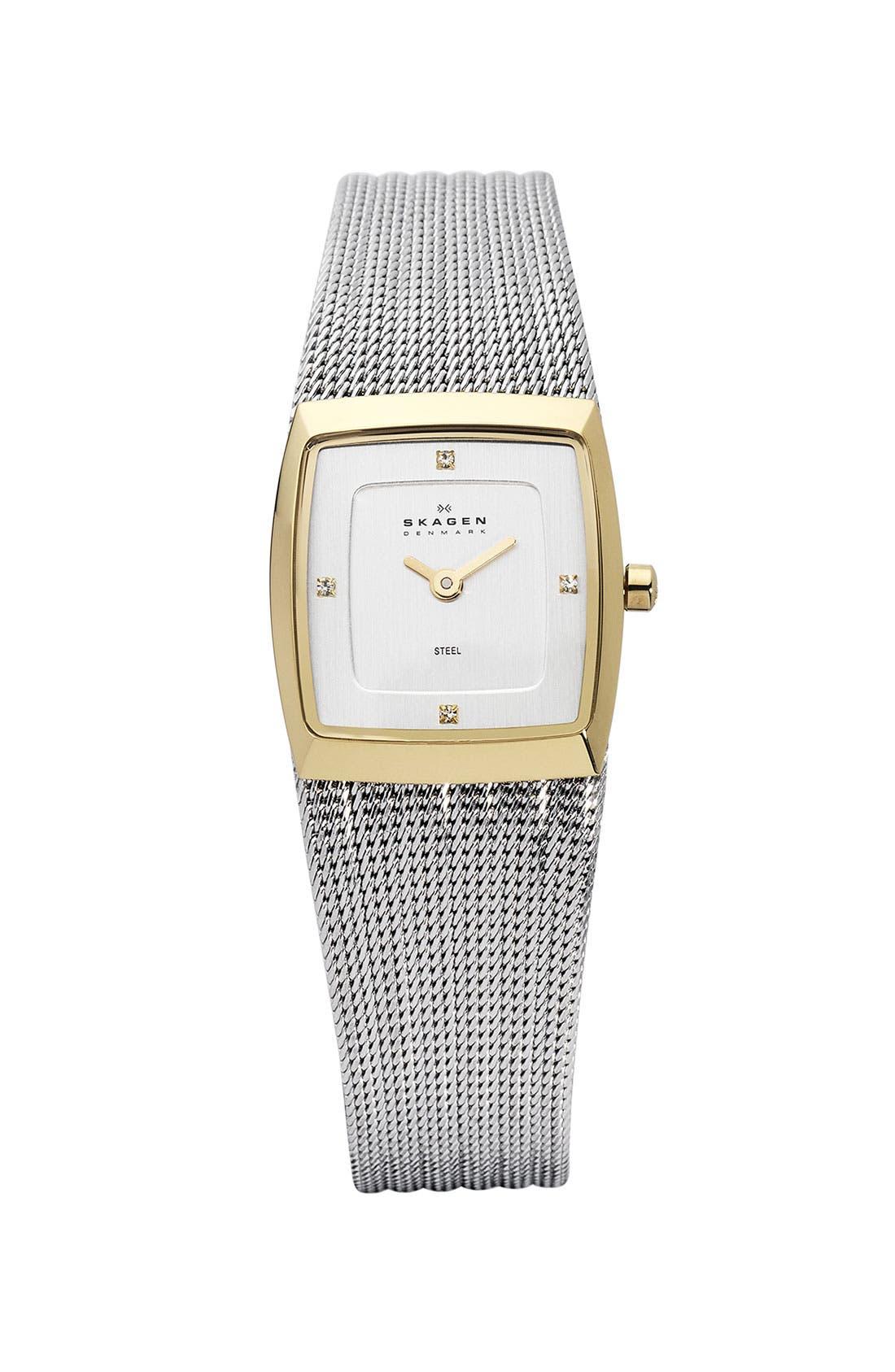 Alternate Image 1 Selected - Skagen Square Stripe Mesh Bracelet Watch
