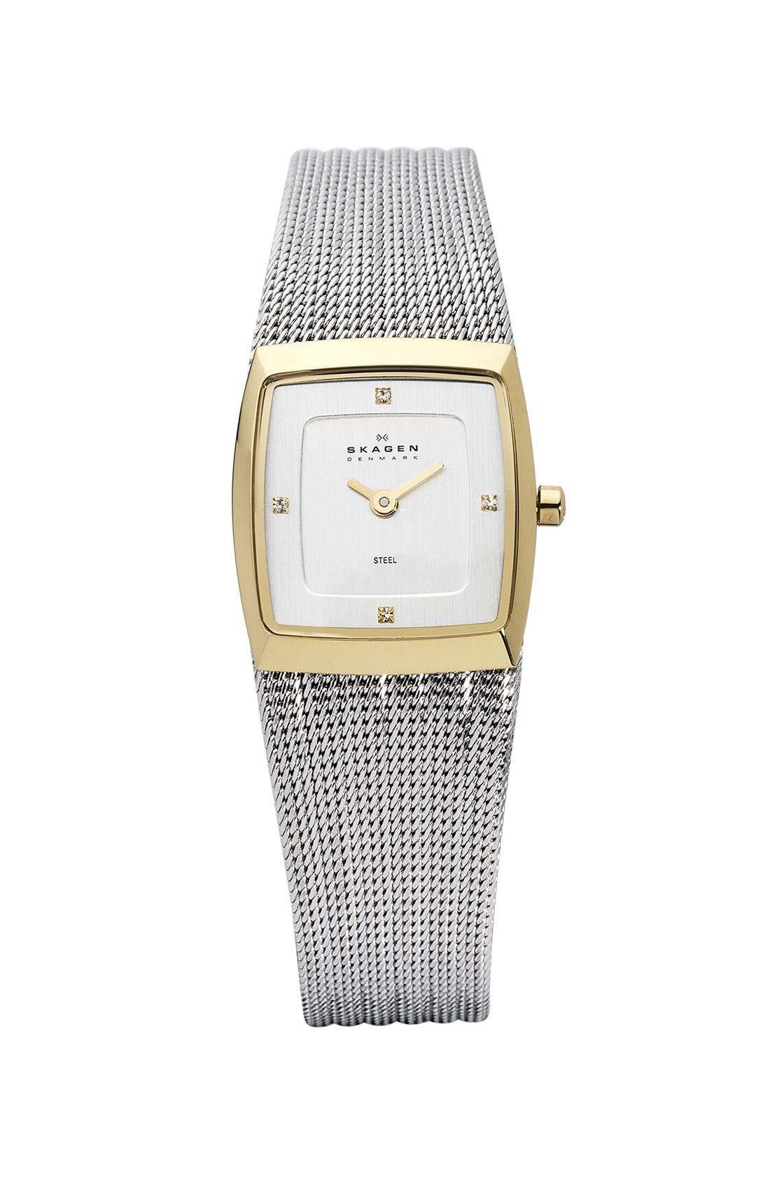 Main Image - Skagen Square Stripe Mesh Bracelet Watch