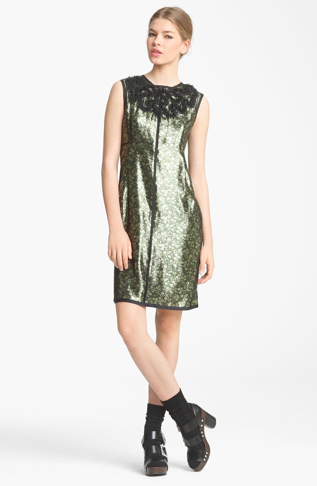 Main Image - MARC JACOBS Embroidered Lamé Shift Dress