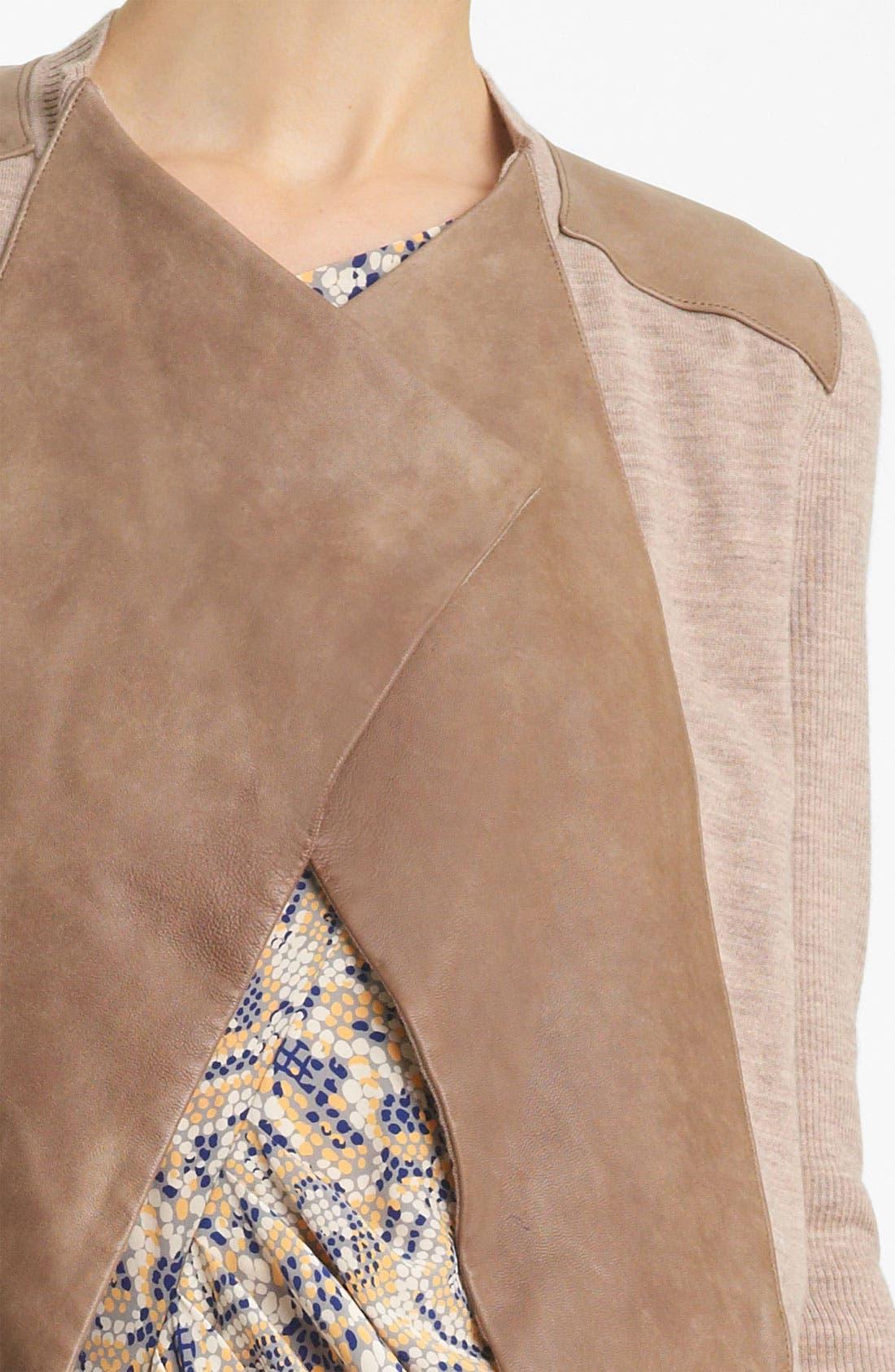 Alternate Image 3  - Thakoon Leather Panel Drape Cardigan