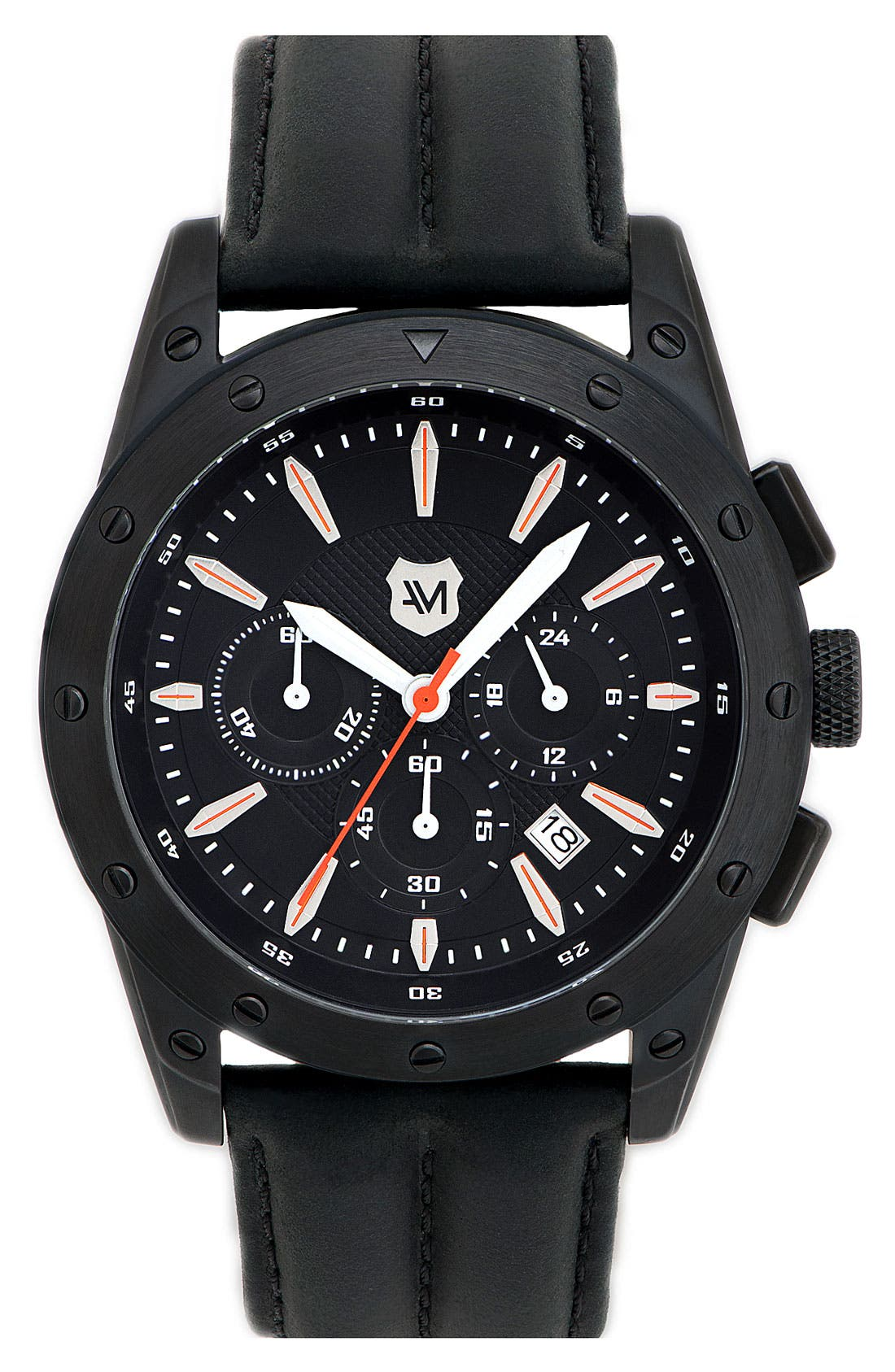 Alternate Image 1 Selected - Andrew Marc Watches 'Heritage Racer' Round Leather Strap Watch