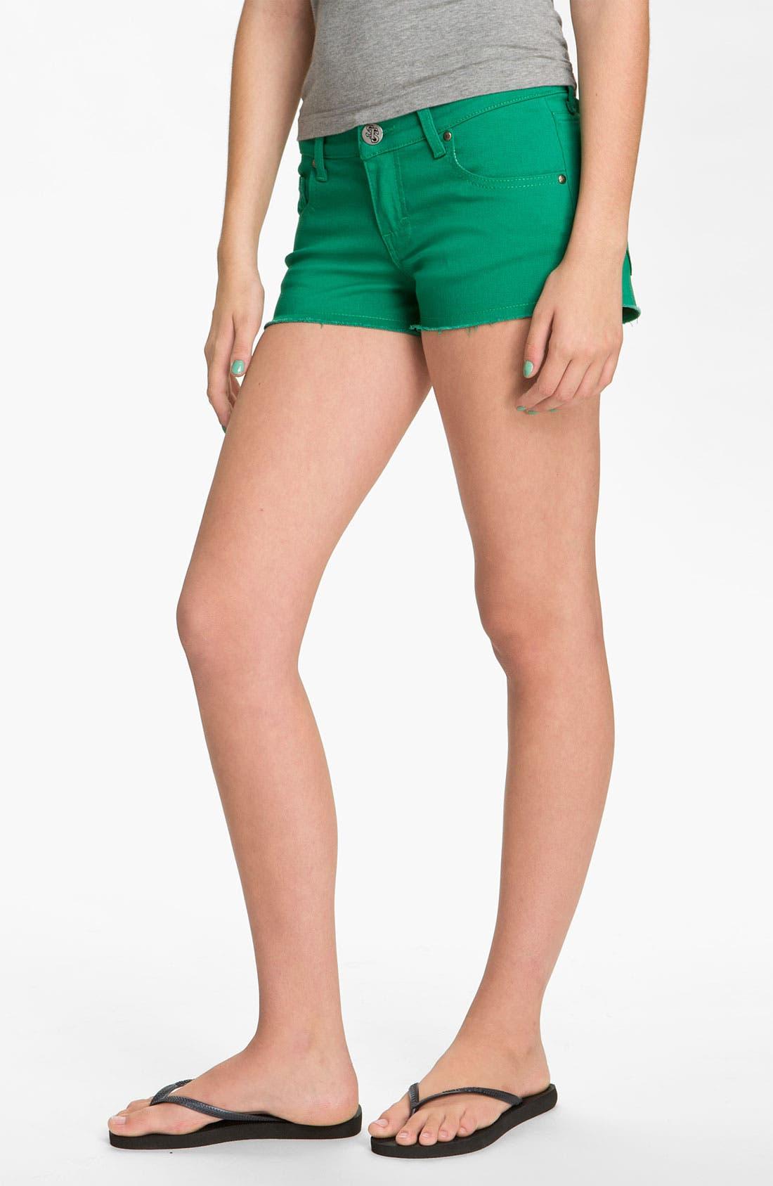 Alternate Image 2  - STS Blue Cutoff Color Denim Shorts (Sardinia Green) (Juniors)