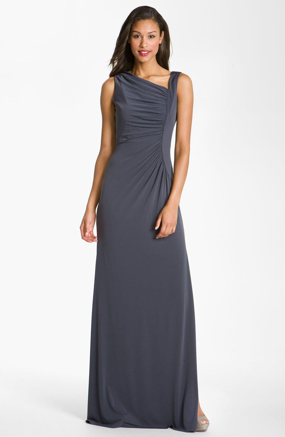 Alternate Image 1  - Calvin Klein Asymmetrical Jersey Gown