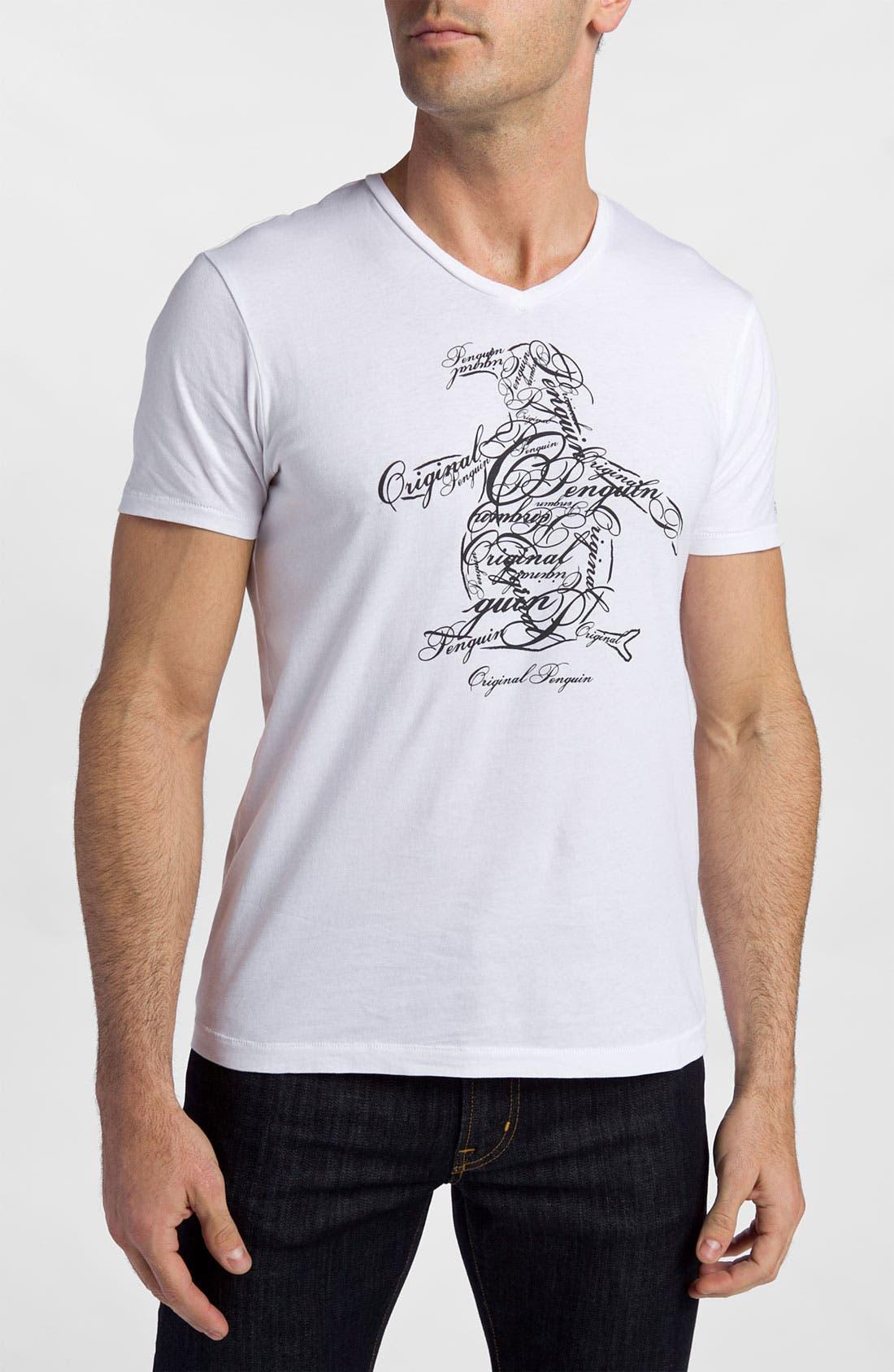 Main Image - Original Penguin 'Script' V-Neck Graphic T-Shirt