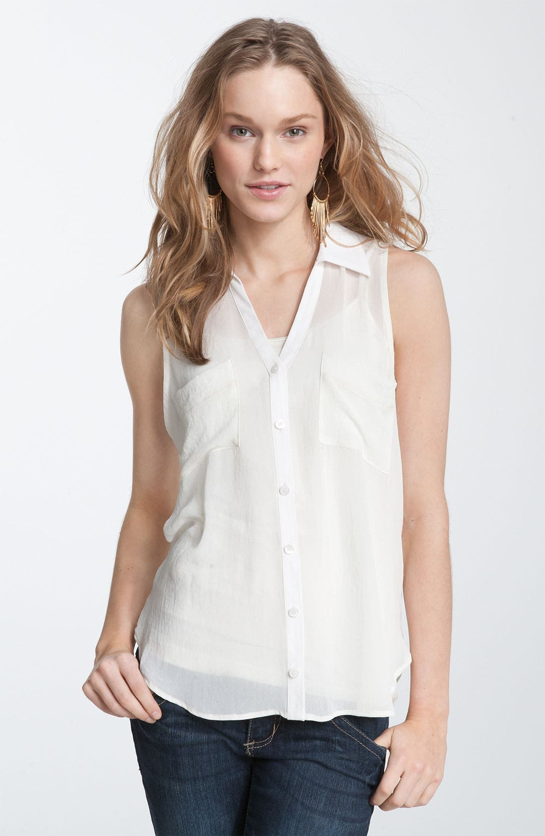 Alternate Image 1 Selected - Lush Sleeveless Chiffon Blouse (Juniors)