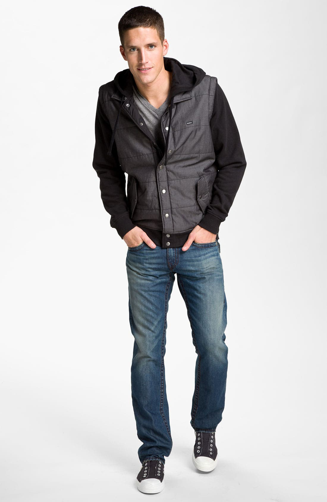 Alternate Image 4  - RVCA Puffer Vest Hooded Jacket