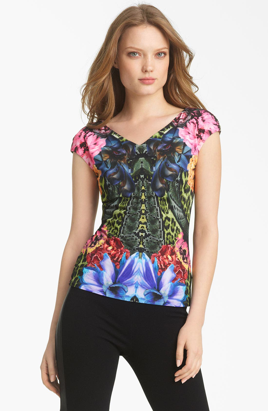 Alternate Image 1 Selected - Roberto Cavalli Flower Print Jersey Top