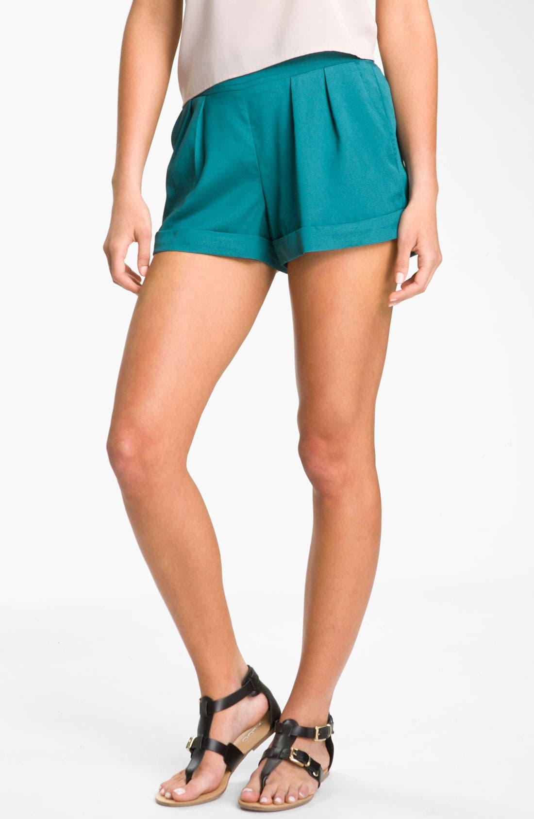 Main Image - Mimi Chica Pleated Cuff Shorts (Juniors)