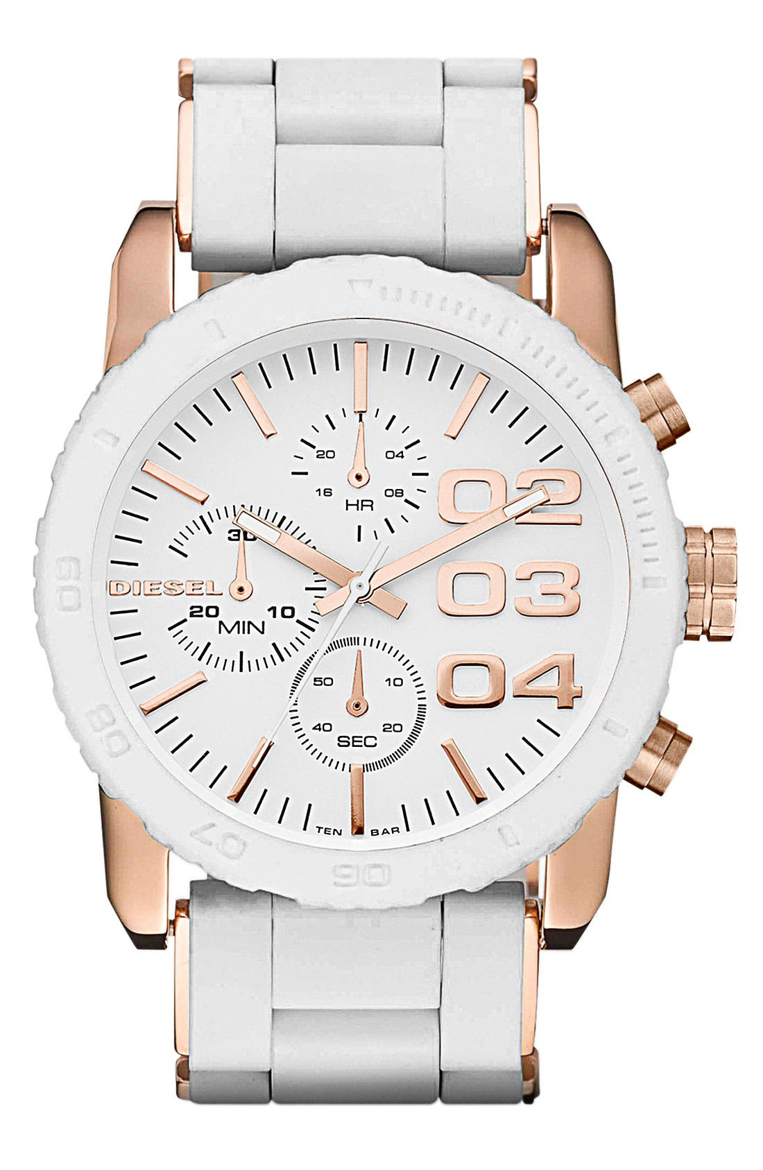 Alternate Image 1 Selected - DIESEL® 'Franchise' Chronograph Silicone Bracelet Watch, 42mm