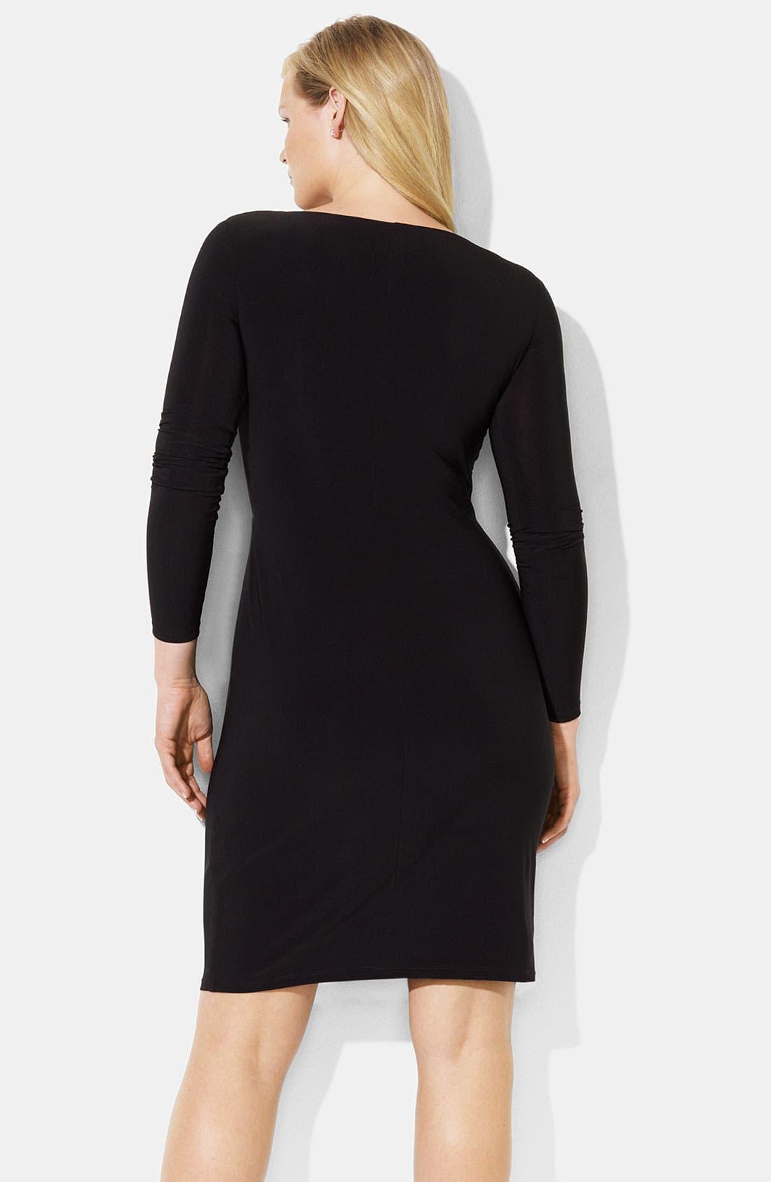 Alternate Image 2  - Lauren Ralph Lauren Ruffle Matte Jersey Sheath Dress (Plus)