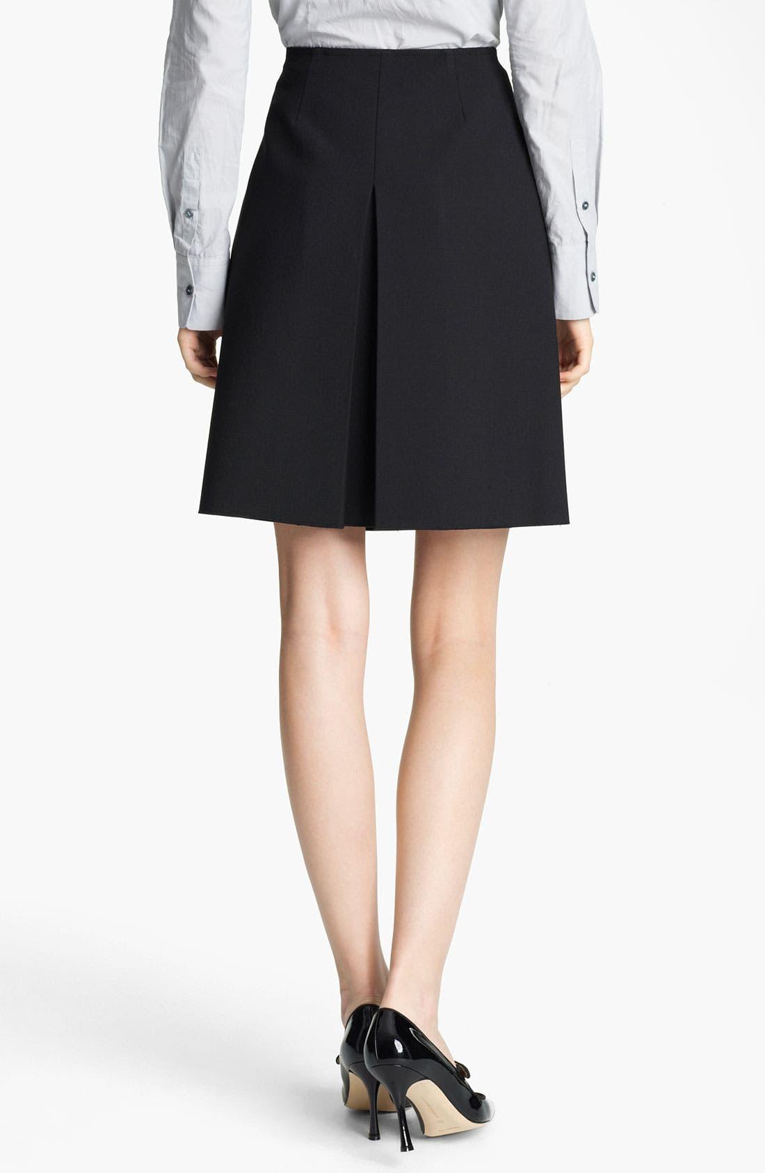 Alternate Image 2  - Jil Sander Navy Pleat Stretch Wool Blend Skirt