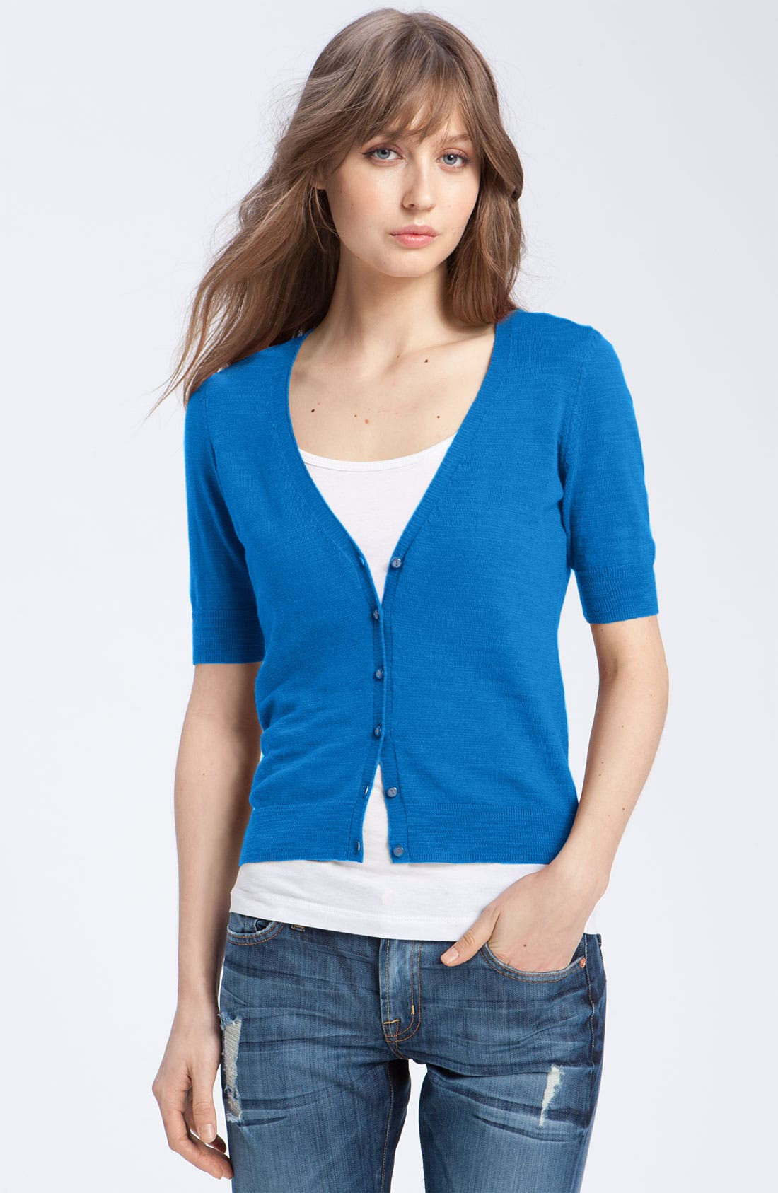 Main Image - Caslon® V-Neck Elbow Sleeve Cardigan (Petite)