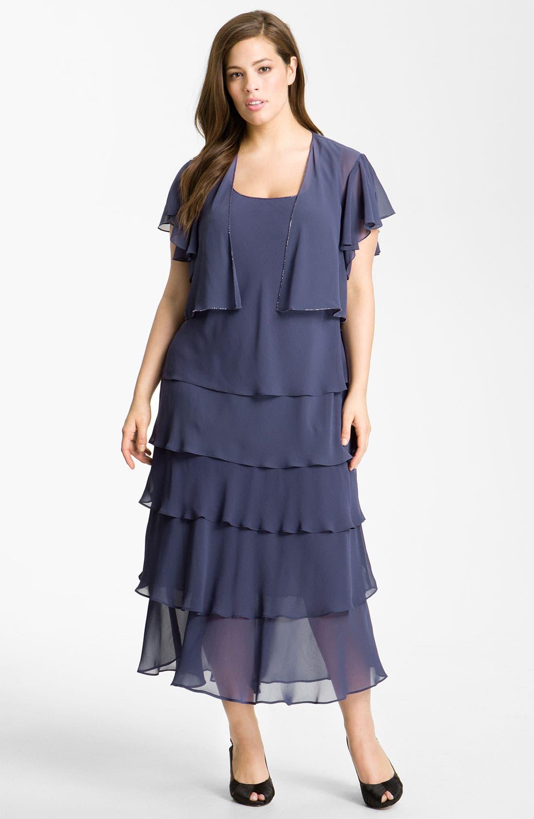 Alternate Image 1 Selected - Alex Evenings Tiered Chiffon Dress & Jacket (Plus)