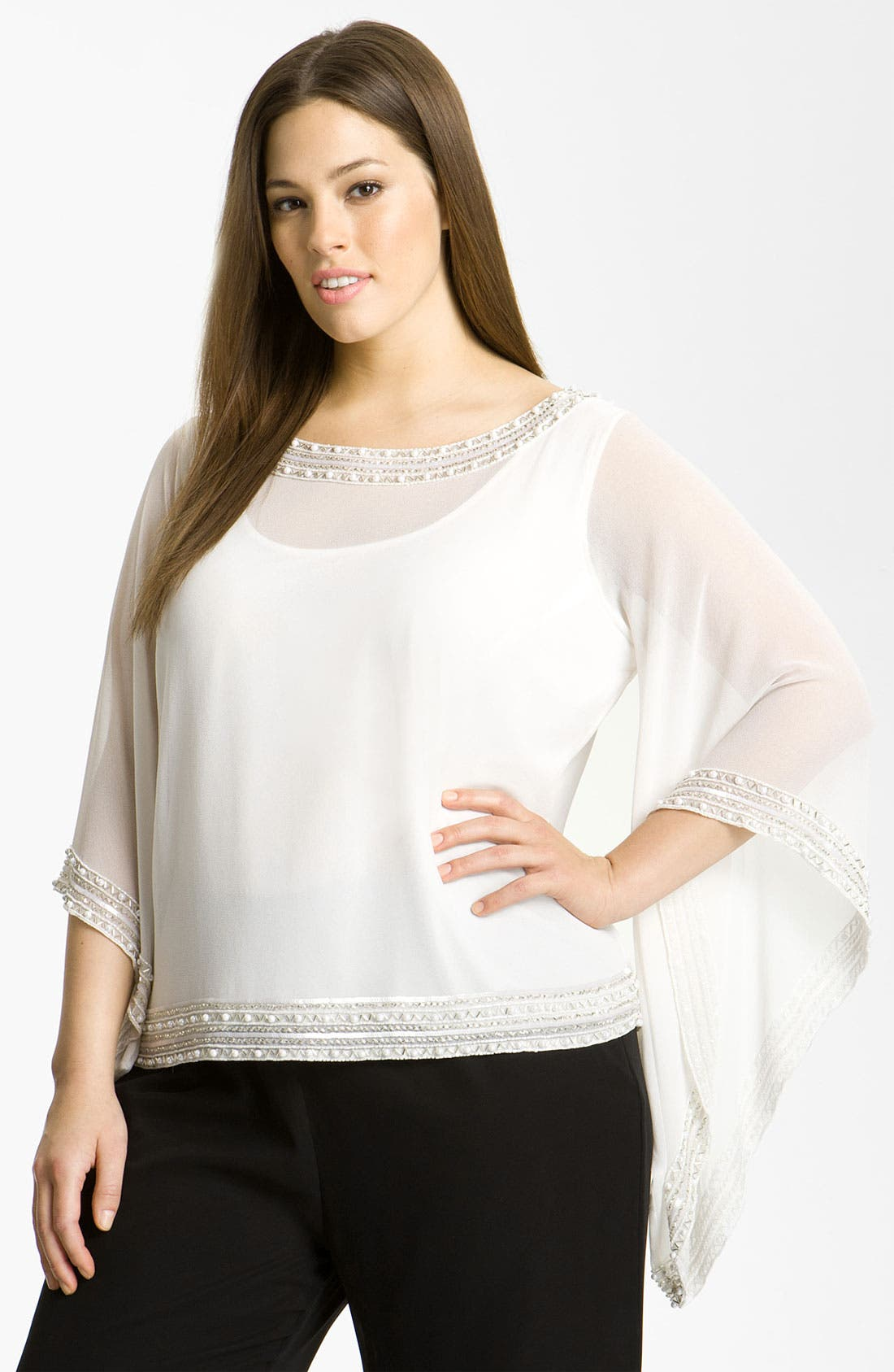 Alternate Image 1 Selected - J Kara Beaded Top (Plus)