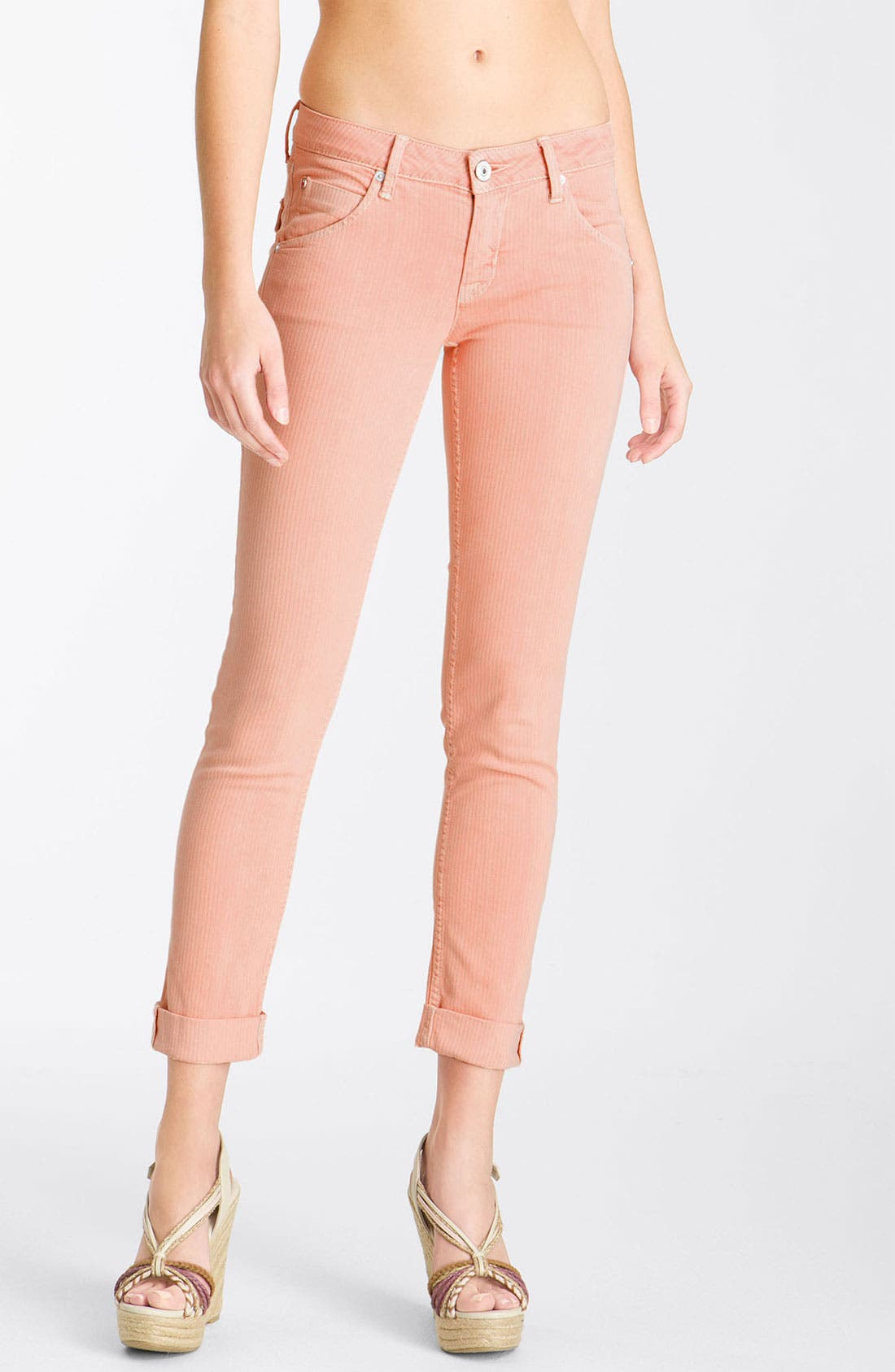 Alternate Image 1 Selected - Hudson Jeans 'Bacara' Crop Straight Leg Jeans (Peach)