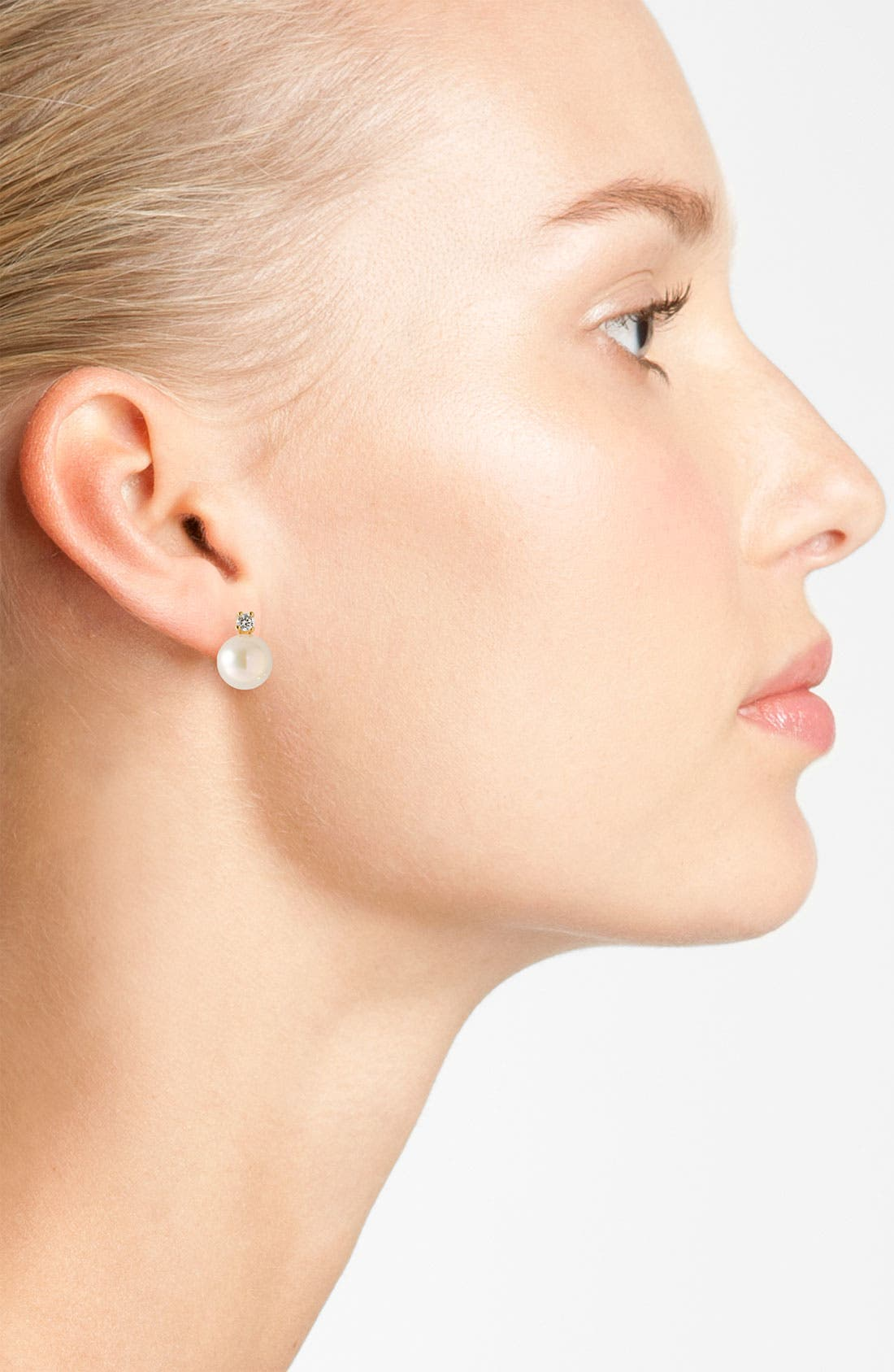 Alternate Image 2  - Majorica 8mm Pearl Stud Earrings with Cubic Zirconia