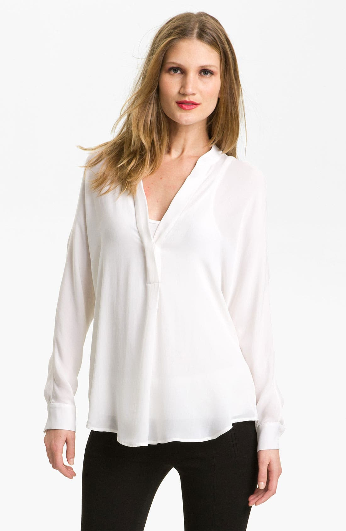 Alternate Image 1 Selected - Vince V-Neck Silk Shirt