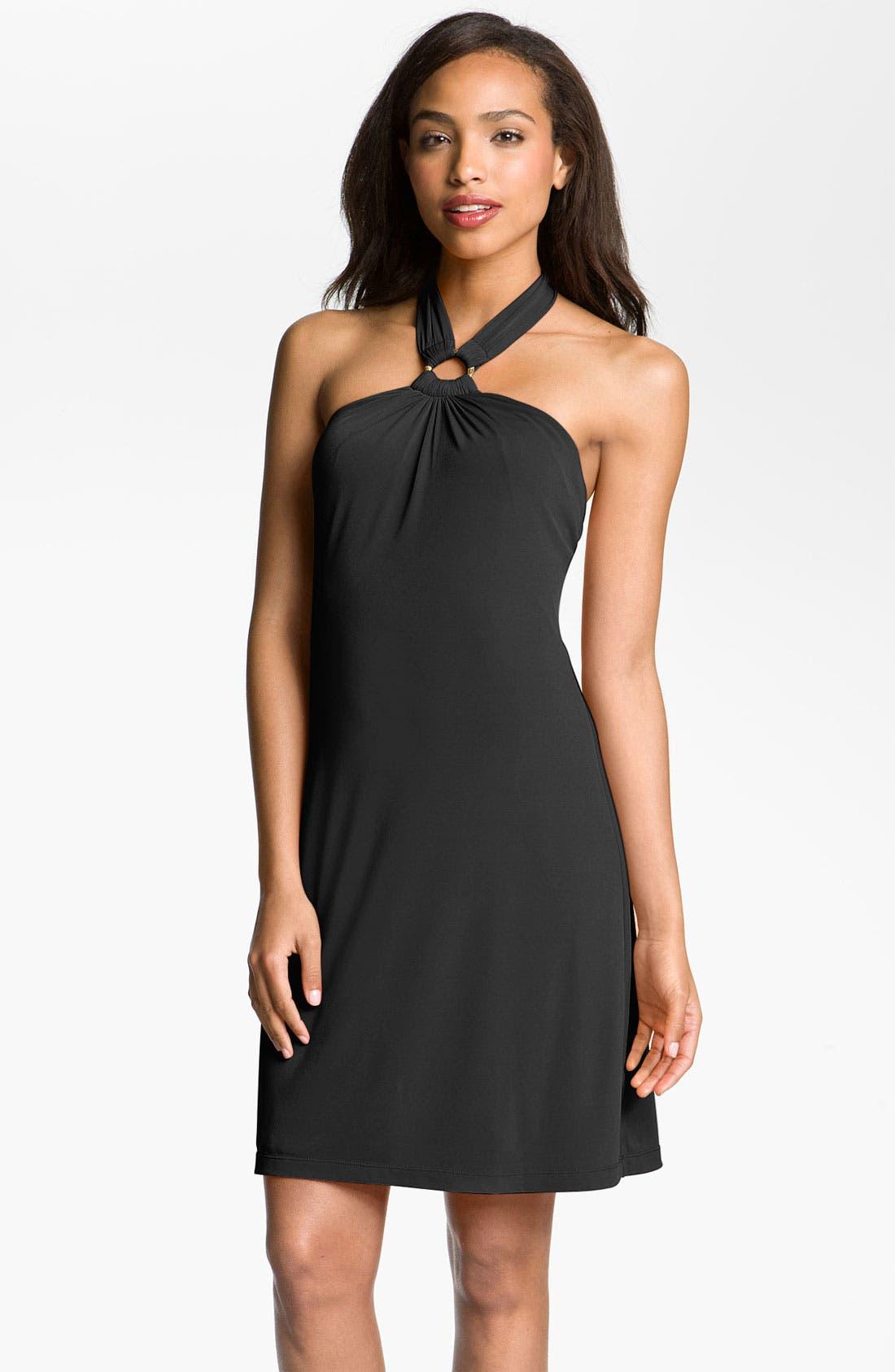 Main Image - Calvin Klein Metal Ring Jersey Halter Dress