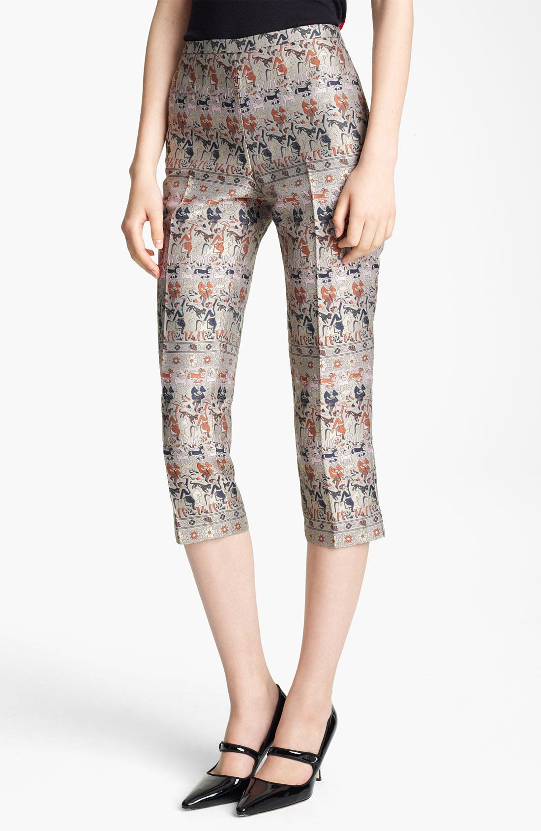 Alternate Image 1 Selected - Jil Sander Navy Crop Straight Leg Jacquard Pants