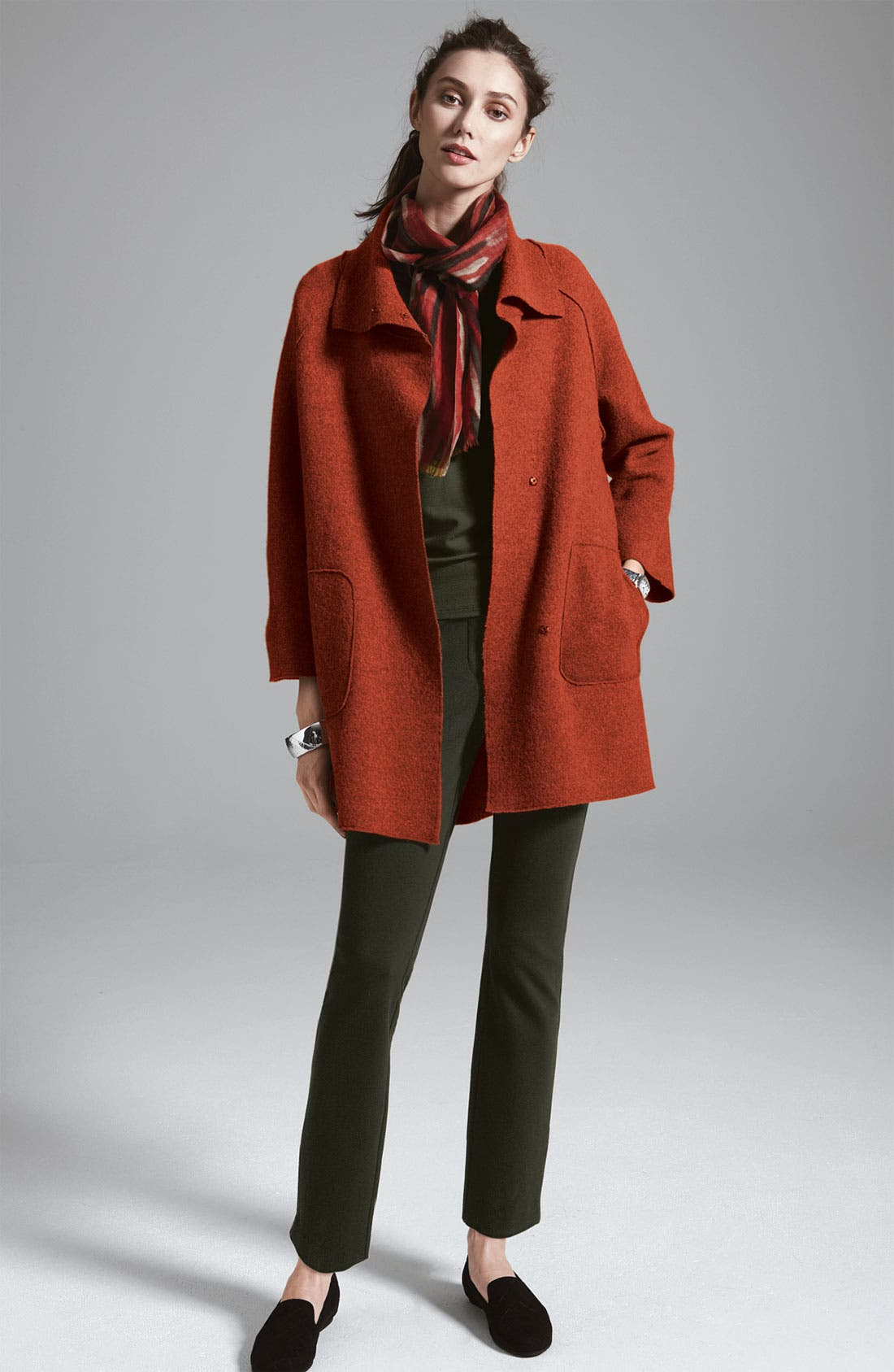 Alternate Image 4  - Eileen Fisher Stitched Waist Slim Ankle Pants (Plus)