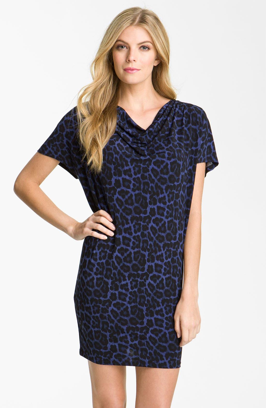 Main Image - MICHAEL Michael Kors Drape Neck Leopard Print Dress