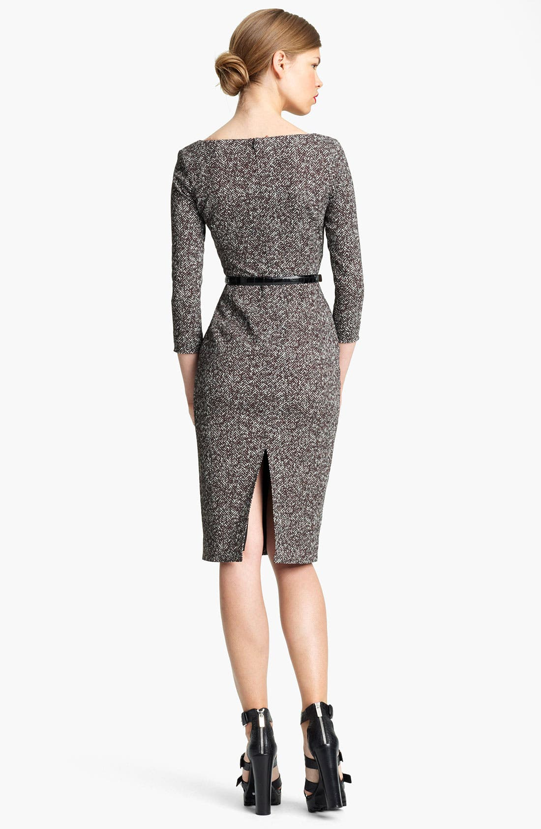 Alternate Image 2  - Michael Kors Belted Tweed Print Cady Dress