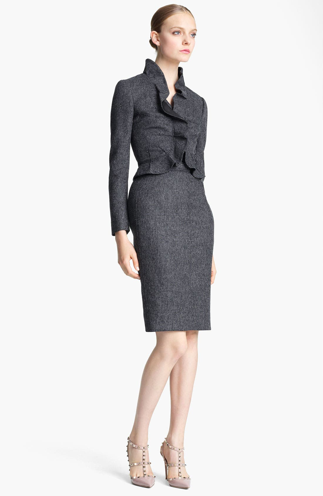 Main Image - Valentino Ruffle Tweed Jacket