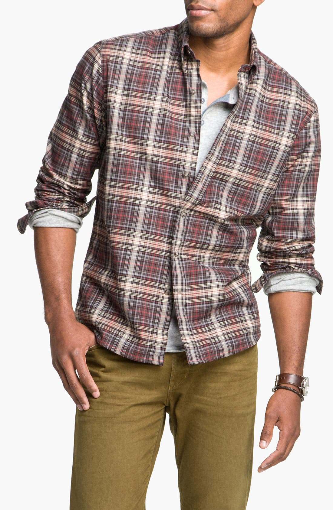 Main Image - Cutter & Buck 'McCrea' Plaid Woven Shirt (Big & Tall)