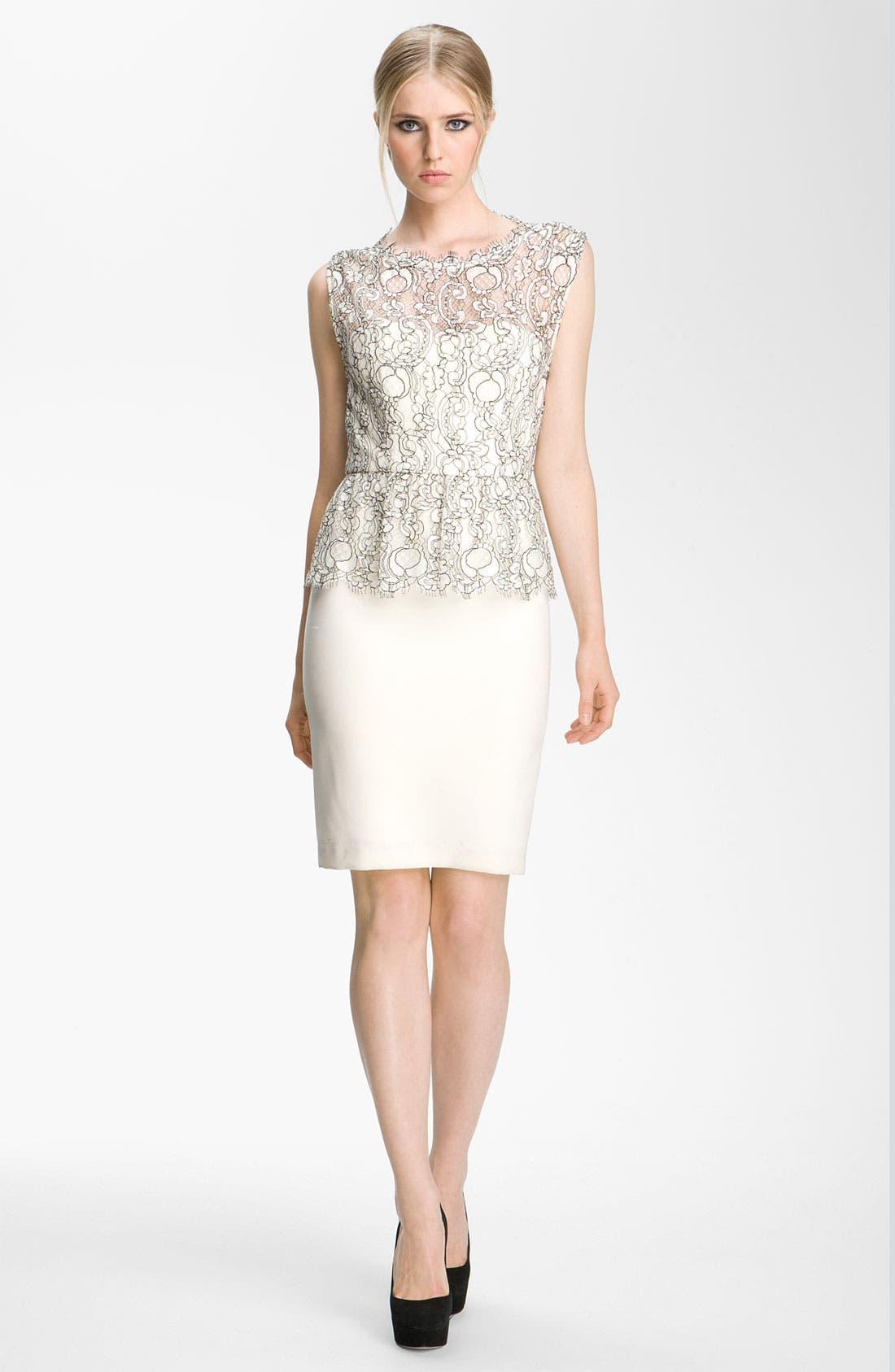 Main Image - Alice + Olivia 'Shovan' Lace Overlay Peplum Dress