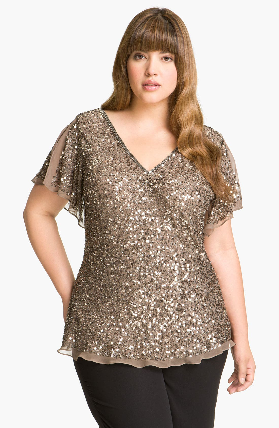 Main Image - Adrianna Papell Sequin Chiffon Top (Plus Size)