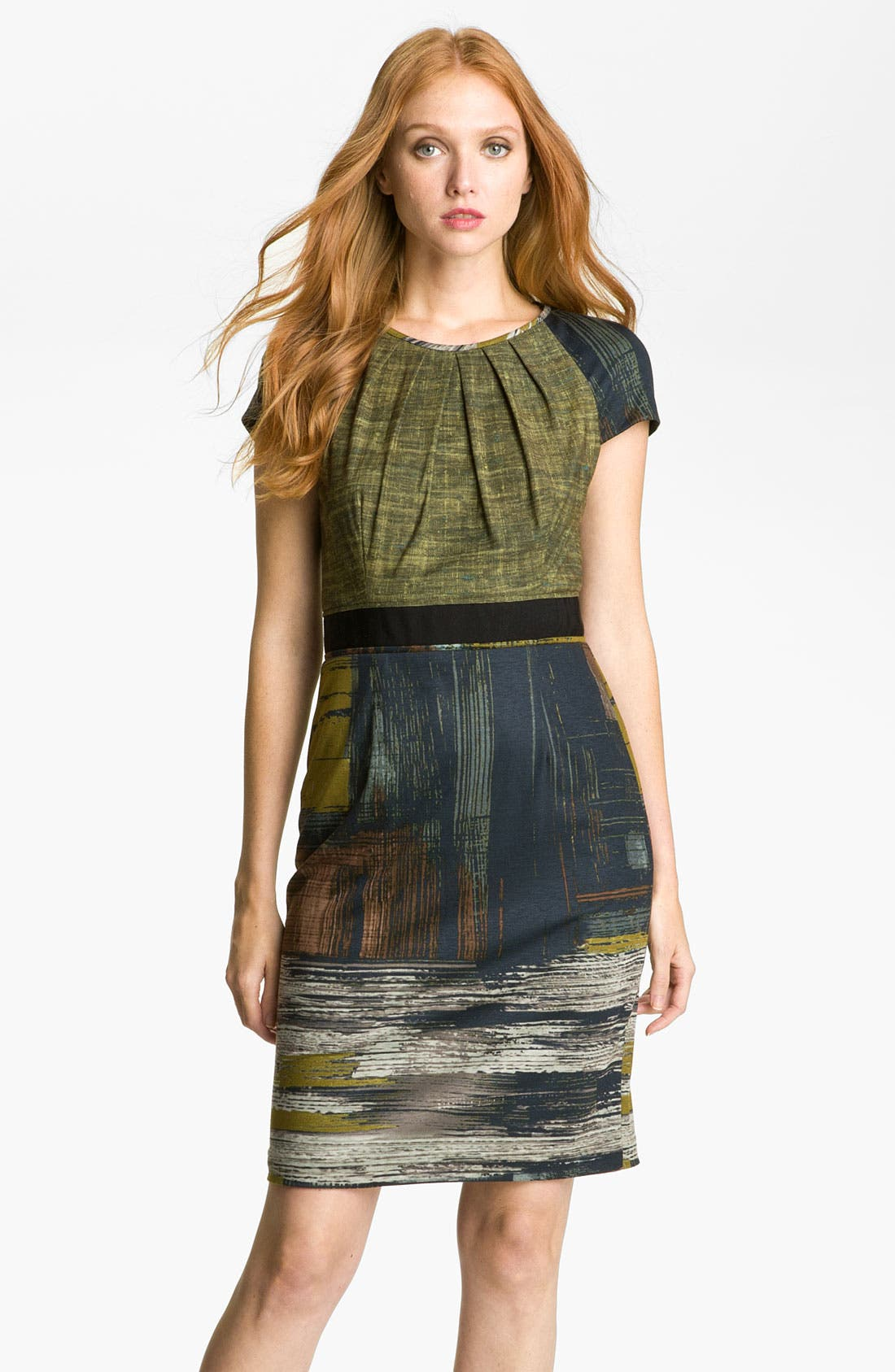Main Image - Maggy London Abstract Print Pleated Neck Jersey Dress