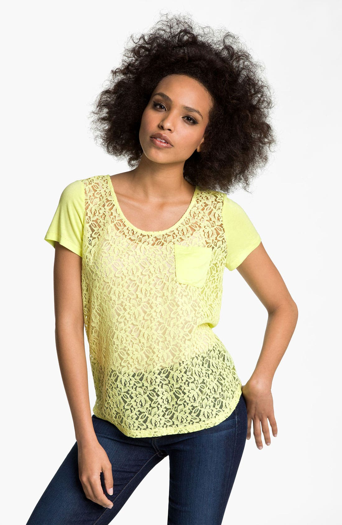 Alternate Image 1 Selected - Hinge® Lace & Knit Tee