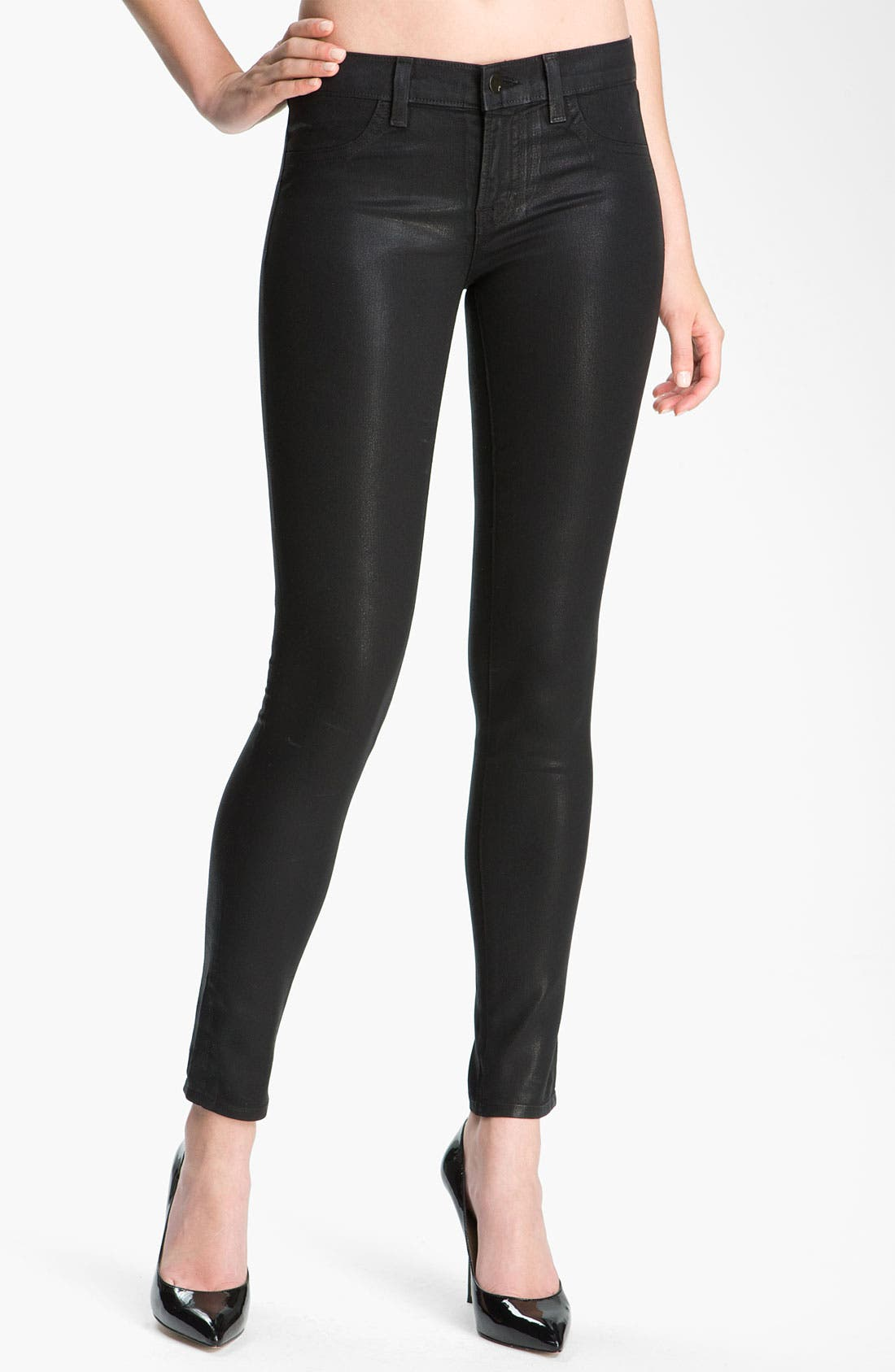 Alternate Image 1 Selected - J Brand 'The Legging' Coated Stretch Jeans (Stealth)