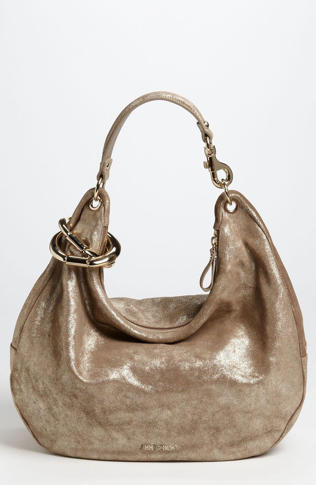 Alternate Image 1 Selected - Jimmy Choo 'Solar - Large' Metallic Leather Hobo