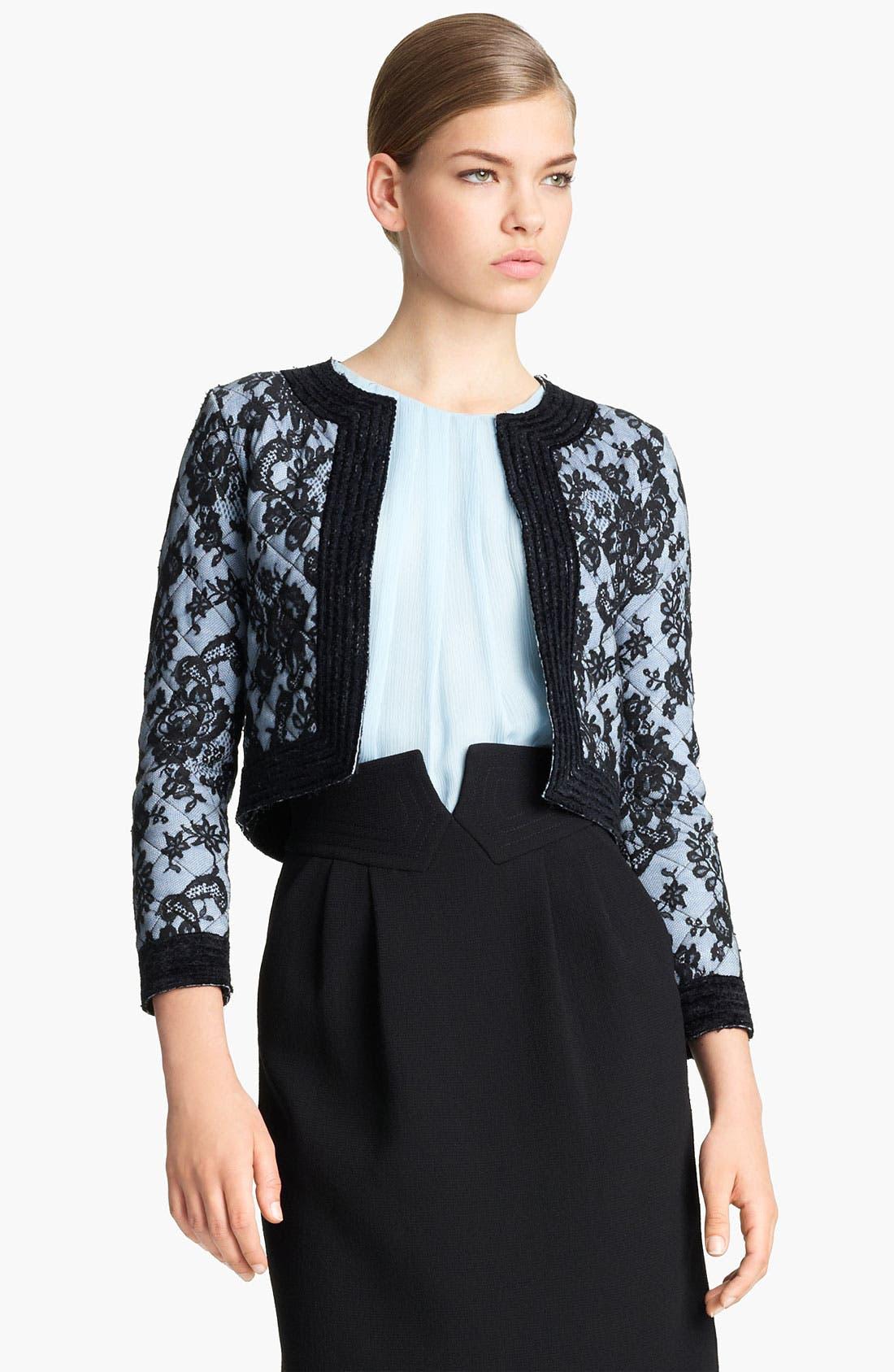 Alternate Image 1 Selected - Oscar de la Renta Quilted Lace Jacket