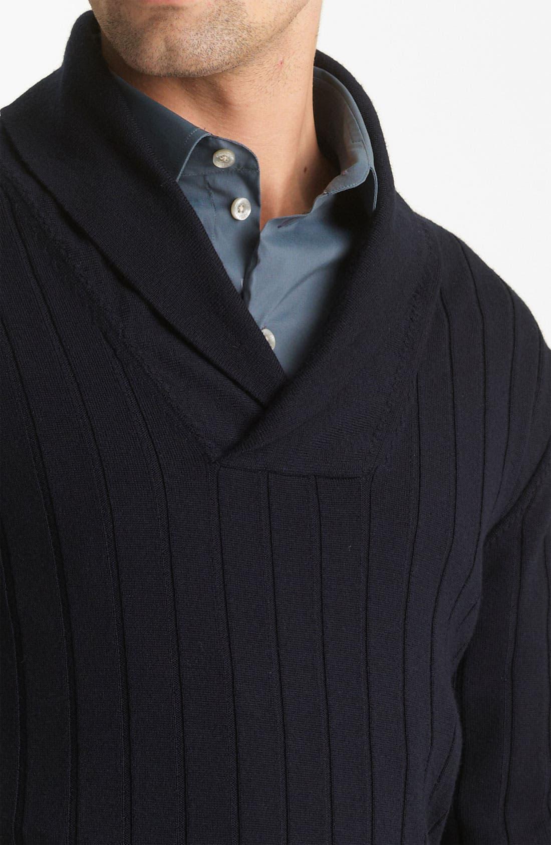 Alternate Image 3  - Armani Collezioni Wool Shawl Collar Sweater
