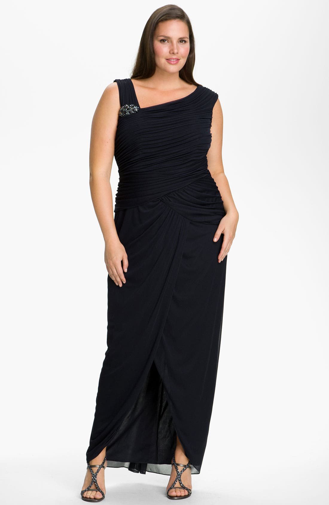 Main Image - Adrianna Papell 'Bouach' Ruched Gown (Plus)
