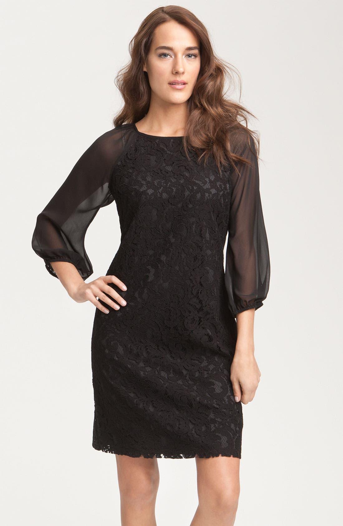 Alternate Image 1 Selected - Adrianna Papell Lace & Chiffon Shift Dress (Petite)