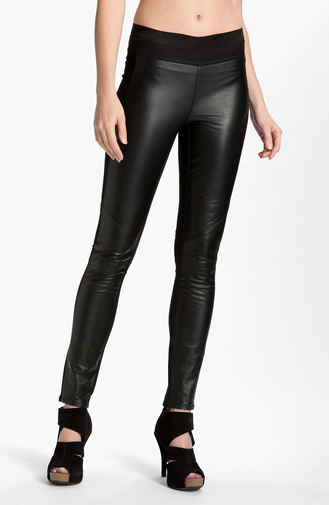 Main Image - Paige Black Label 'Paloma' Leather Panel Leggings