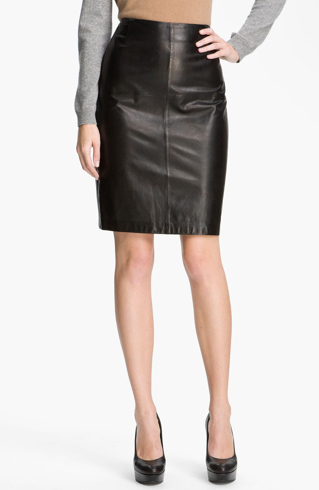 Main Image - BOSS Black Leather Skirt